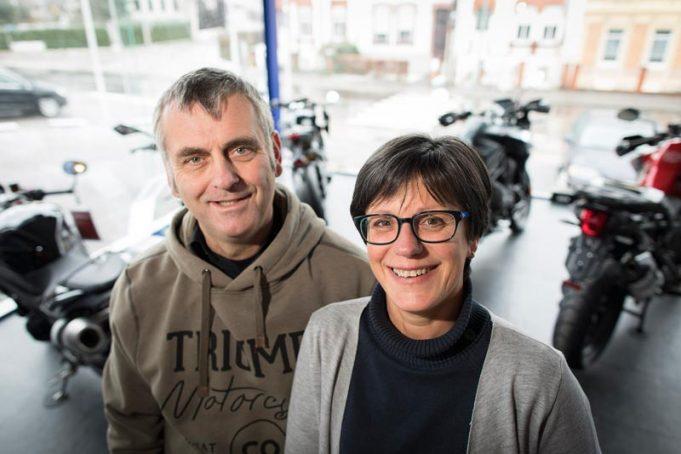 Ein erfolgreiches Gespann: Alex und Ingrid Visé, die Motorradexperten - nicht nur - für Triumph.